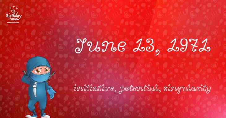 June 13, 1971 Birthday Ninja