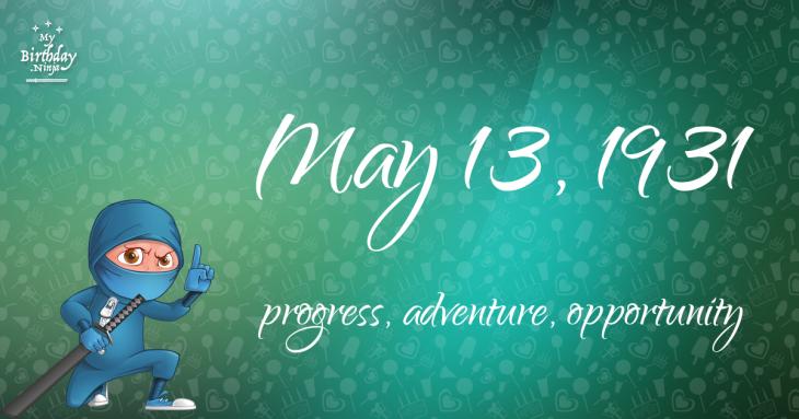 May 13, 1931 Birthday Ninja