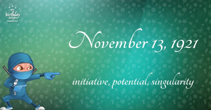 November 13, 1921 Birthday Ninja