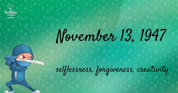 November 13, 1947 Birthday Ninja