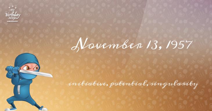 November 13, 1957 Birthday Ninja