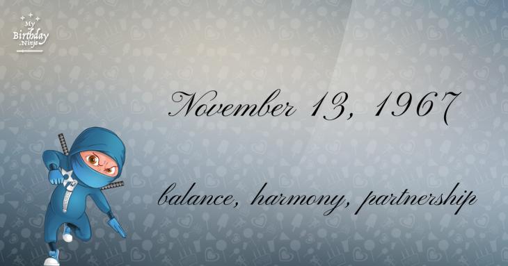November 13, 1967 Birthday Ninja