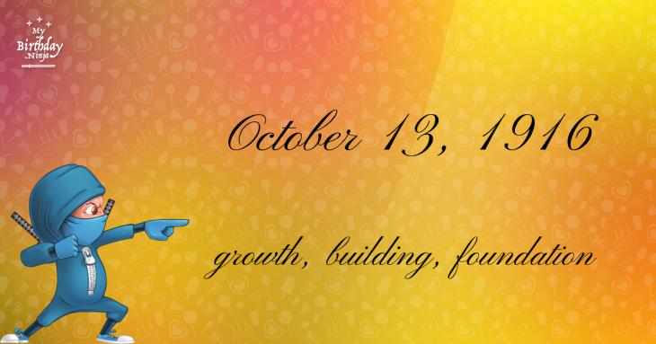 October 13, 1916 Birthday Ninja