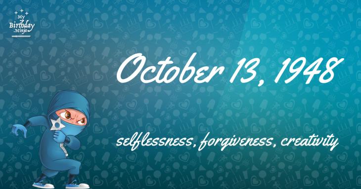October 13, 1948 Birthday Ninja