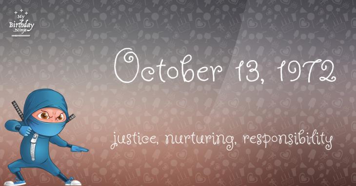 October 13, 1972 Birthday Ninja