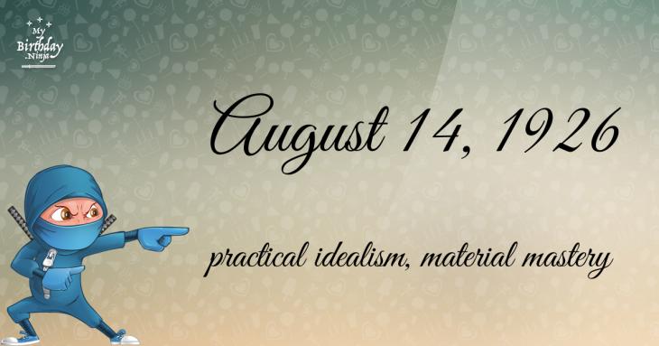 August 14, 1926 Birthday Ninja
