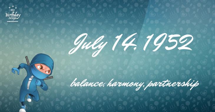July 14, 1952 Birthday Ninja