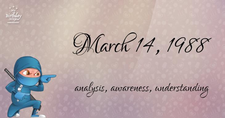 March 14, 1988 Birthday Ninja