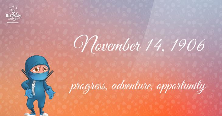 November 14, 1906 Birthday Ninja