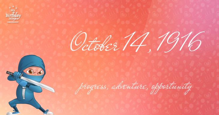 October 14, 1916 Birthday Ninja