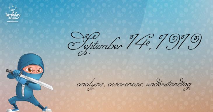 September 14, 1919 Birthday Ninja