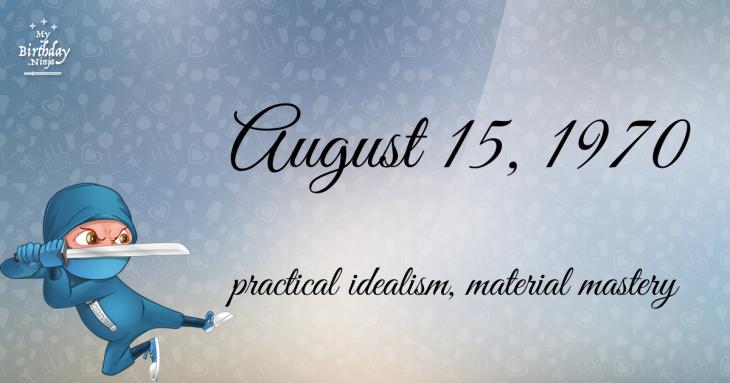 August 15, 1970 Birthday Ninja