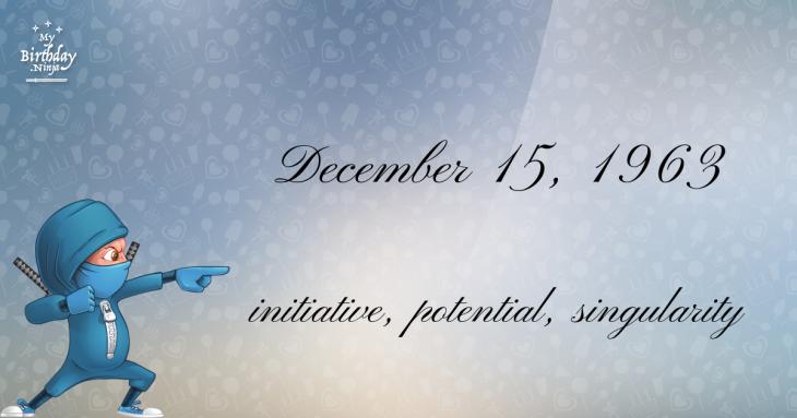December 15, 1963 Birthday Ninja