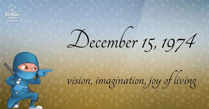 December 15, 1974 Birthday Ninja