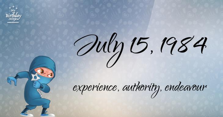 July 15, 1984 Birthday Ninja