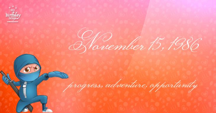 November 15, 1986 Birthday Ninja
