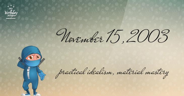 November 15, 2003 Birthday Ninja