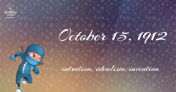 October 15, 1912 Birthday Ninja