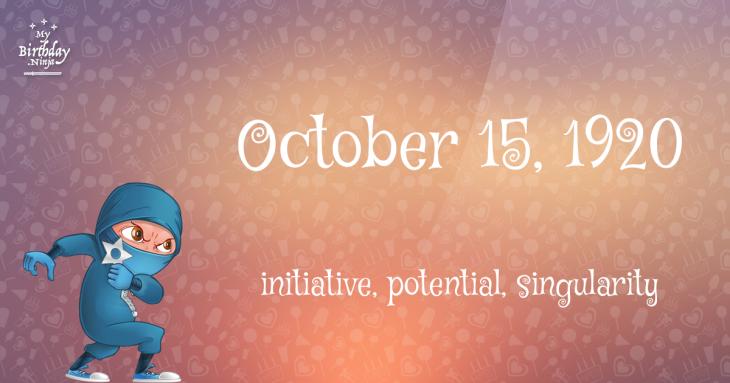 October 15, 1920 Birthday Ninja