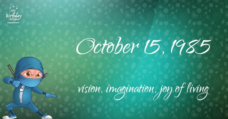 October 15, 1985 Birthday Ninja