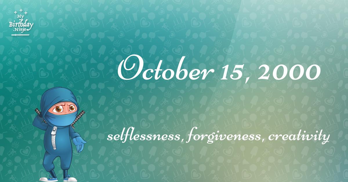 October 15, 2000 Birthday Ninja Poster