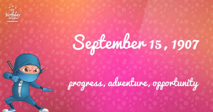 September 15, 1907 Birthday Ninja