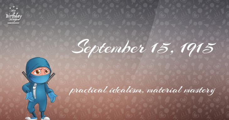 September 15, 1915 Birthday Ninja