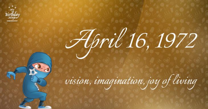 April 16, 1972 Birthday Ninja