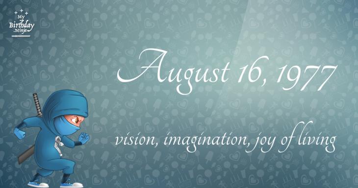 August 16, 1977 Birthday Ninja