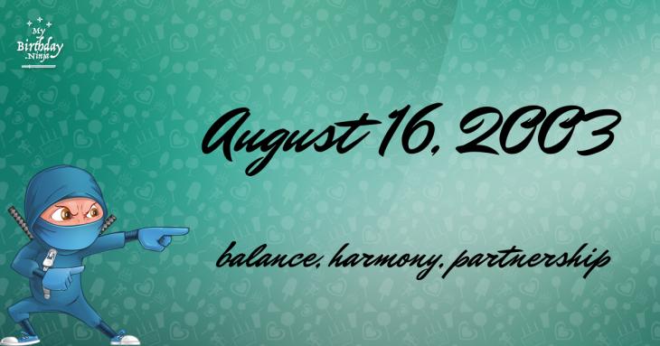 August 16, 2003 Birthday Ninja