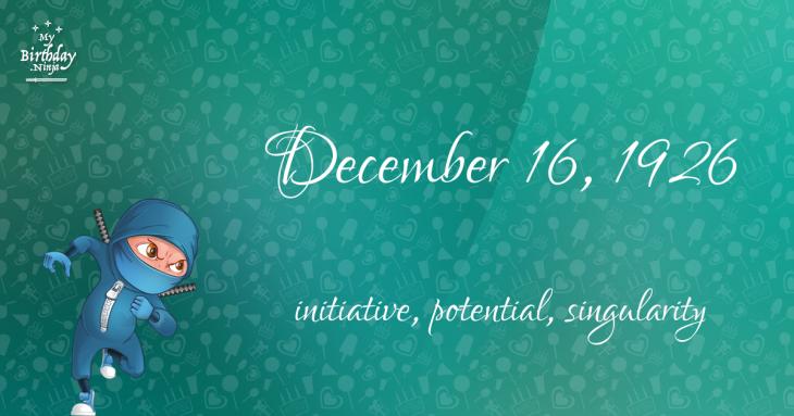 December 16, 1926 Birthday Ninja