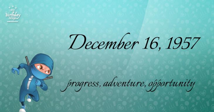 December 16, 1957 Birthday Ninja