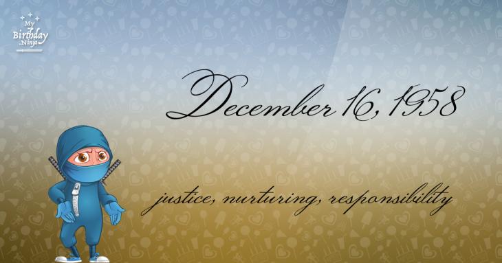 December 16, 1958 Birthday Ninja