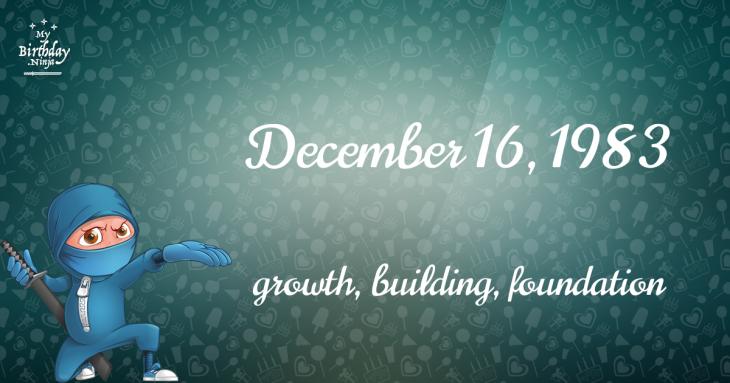 December 16, 1983 Birthday Ninja