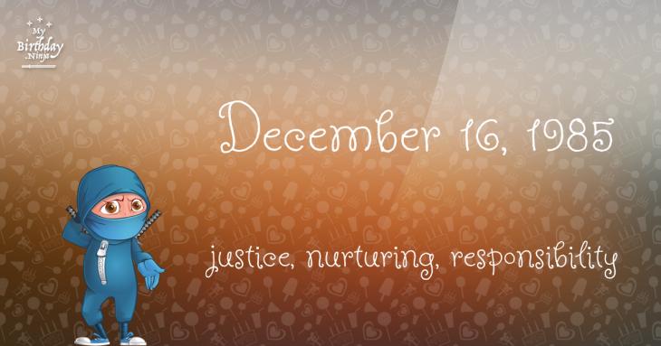 December 16, 1985 Birthday Ninja