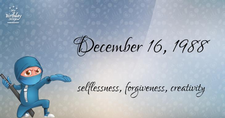December 16, 1988 Birthday Ninja