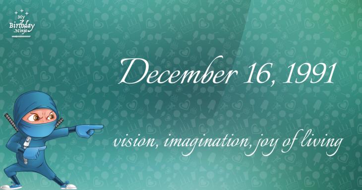 December 16, 1991 Birthday Ninja