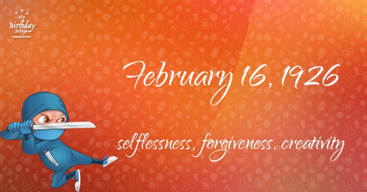 February 16, 1926 Birthday Ninja