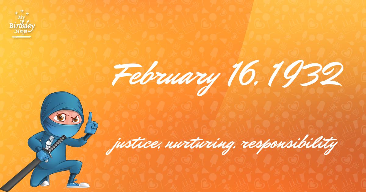 February 16, 1932 Birthday Ninja Poster