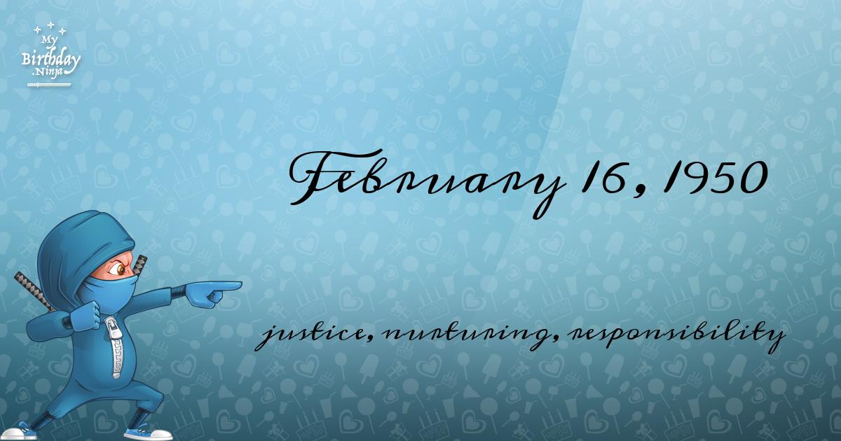 February 16, 1950 Birthday Ninja Poster