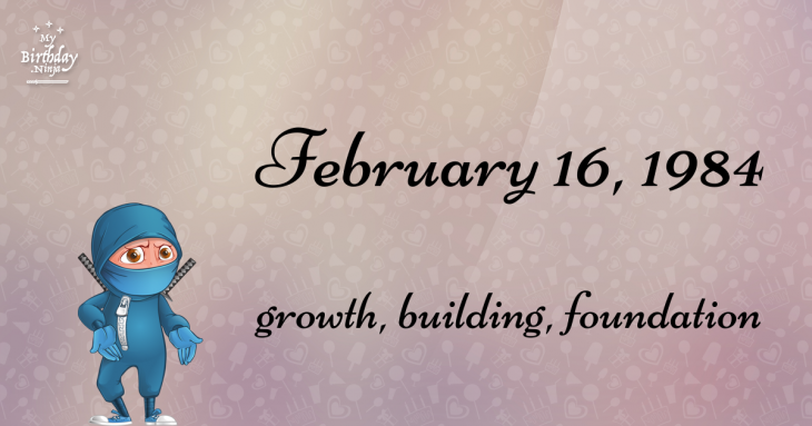 February 16, 1984 Birthday Ninja