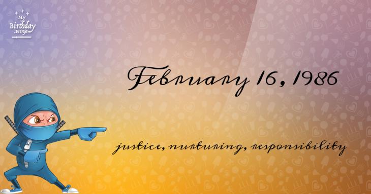 February 16, 1986 Birthday Ninja