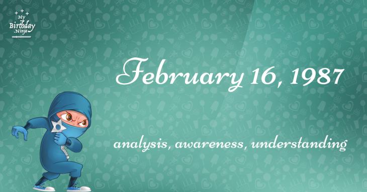 February 16, 1987 Birthday Ninja