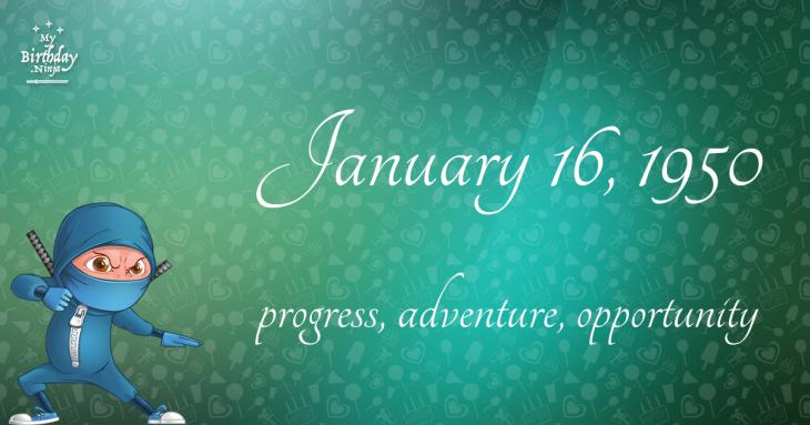 January 16, 1950 Birthday Ninja