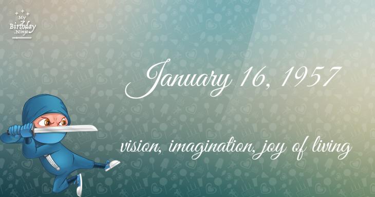 January 16, 1957 Birthday Ninja