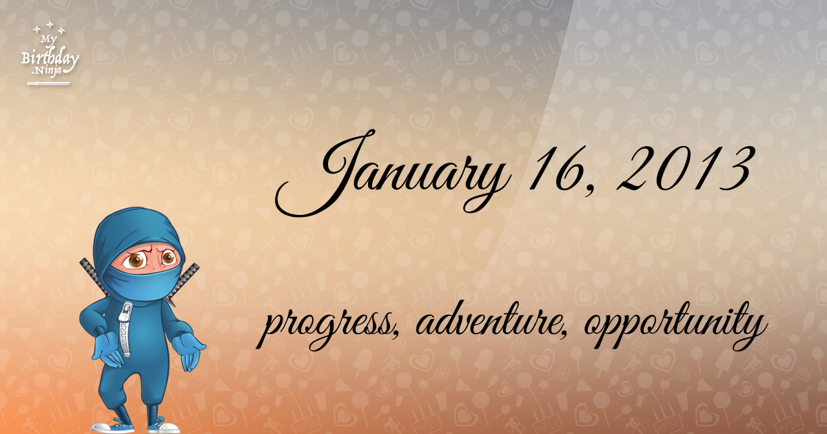 January 16, 2013 Birthday Ninja Poster