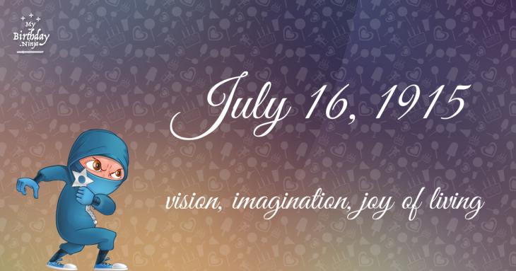 July 16, 1915 Birthday Ninja