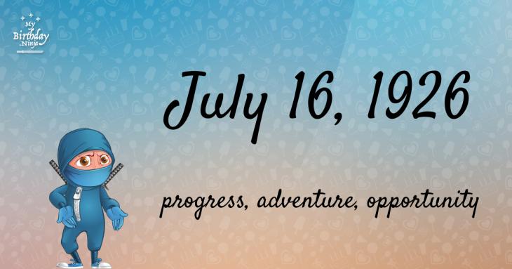 July 16, 1926 Birthday Ninja