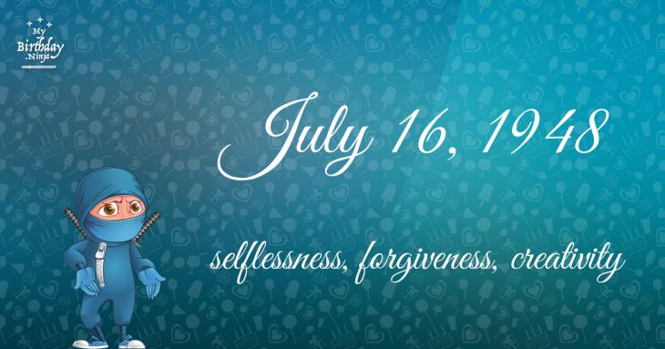July 16, 1948 Birthday Ninja