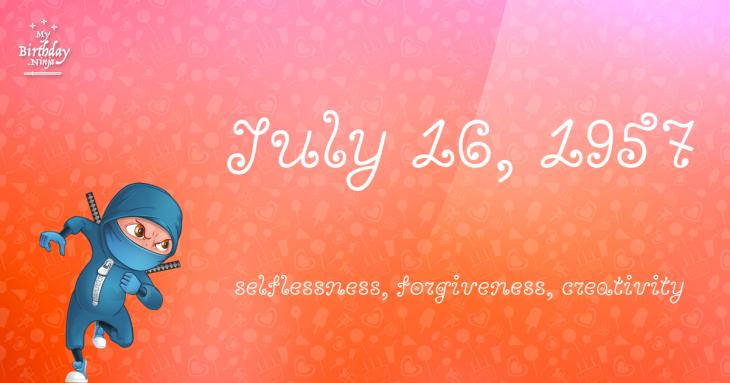 July 16, 1957 Birthday Ninja